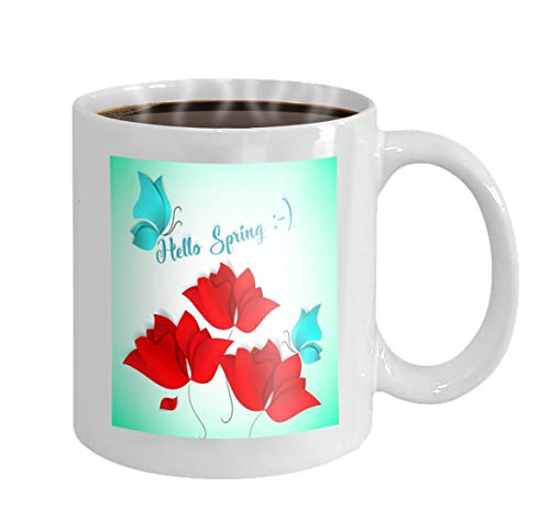 11 oz Coffee Mug hello spring paper cut style card green red flower blue butterfly d day happy love flora Novelty Ceramic Gifts Tea Cup Blue Flora Cup