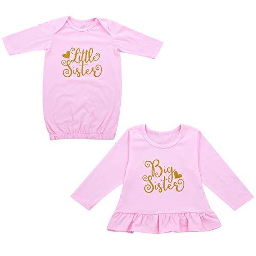 Geschwister Shirt Set für Schwestern rosa Top Outfits Kleidung Set für Neugeborene Babys (Color : Pink, Size : Little Sister 0-3M) Fashion Rosa Kleid Set