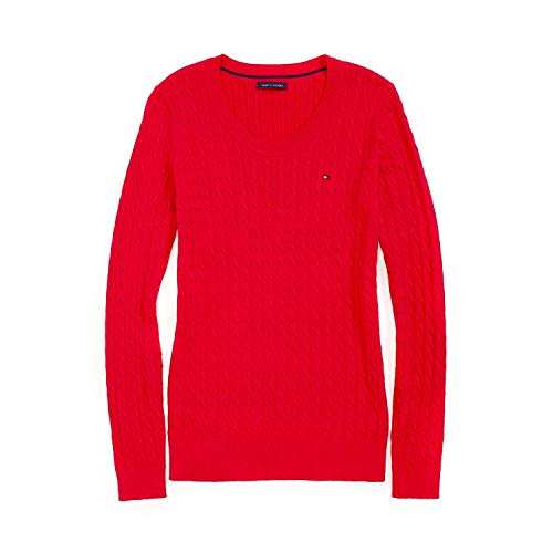 Tommy Hilfiger Cable Knit Pullover (Tommy Hilfiger Damen Pulli, Pullover, Cable Knit Sweater, Strick, Red, Alle Großen (X-Large))
