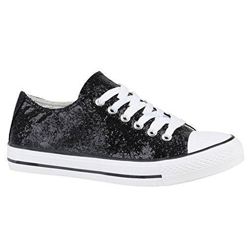 Damen Schuhe Sneakers Sportschuhe Schnürer 155788 Schwarz Glitzer 37 Flandell