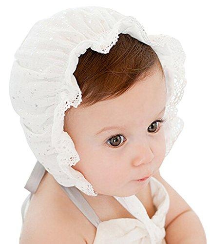 GEMVIE Baby Süß Stern Beanie Hut UV-Schutz Sonnenhut für 0-24 Monate Weiß (Beanie Hüte Mit Krempe)