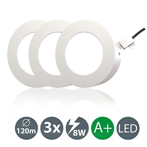 LED Aufbauleuchte I Deckenleuchte I LED Spot rund I Weiß I 3er Set Deckenstrahler I warm-weiß I 3 x LED Platine à 8 W I 230 V I IP20 I Ø 120 mm