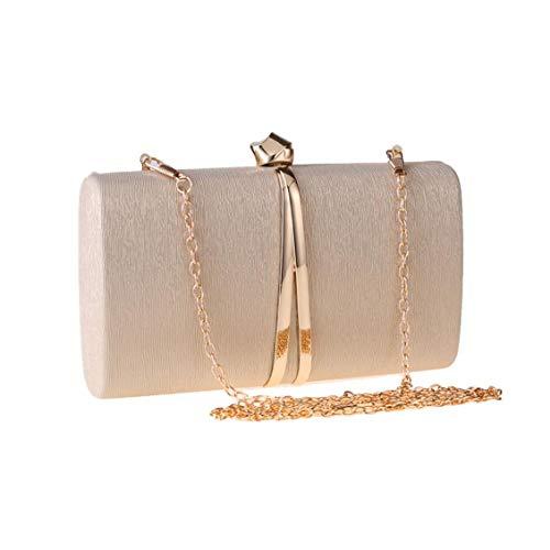 JUN Abendtasche Metall Clutch Bag Kette Diagonal Damen Small Square Bag Elegantes Kleid Bankett Tasche (Color : Gold)