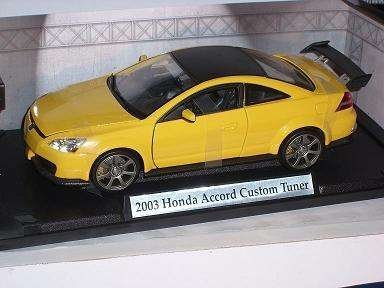honda-accord-custom-tuner-gelb-yellow-2003-1-18-motormax-motor-max-modellauto-modell-auto
