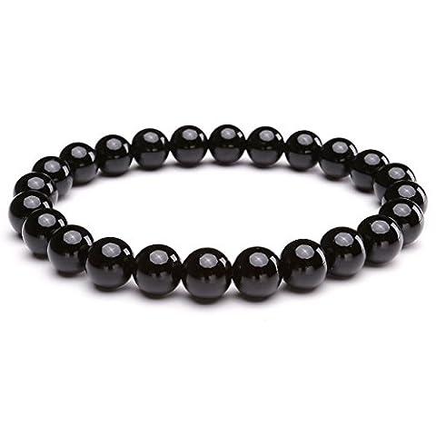 JSDDE Unisex Womens 8MM Semi-Precious Gemstones Healing Energy Crystal Elastic Beaded Bracelets,Black Onyx