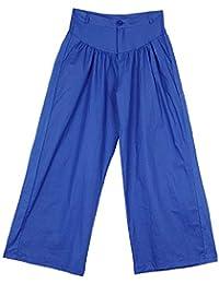 TOOGOO Frauen Hohe Taille Lose Plissee Denim Breite Beinhosen beilaeufige  Taschen Solid Plus Size Hosen Schwarz 184de4bee7
