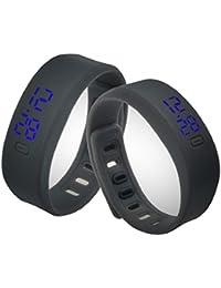 Sannysis® Los hombres y las mujeres de goma LED reloj de pulsera digital (Negro)