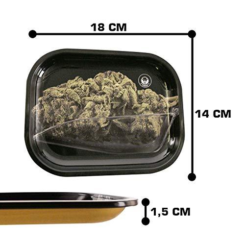 Heisenberg Metall Drehtablett/Rolling Tray in 4 Designs - 18cm x 14cm - Extra hoher Rand 1,5cm - Rolltablett Design Bud