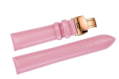 18mm Luxus Shiny Patent Rosa Lederarmbänder für Damen High-End-Armbanduhren poliertem Finish Rose Gold Faltschließe (Poliertem Gold-finish)