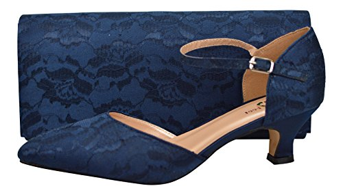 Chic Feet Womens Navy Blue Satin & Lace Closed Toe Buckle Wedding...