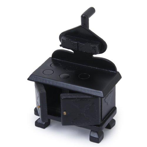 Vintage Holz Miniatur Küche Herd Schwarz für Puppenhaus Möbel-Zubehör