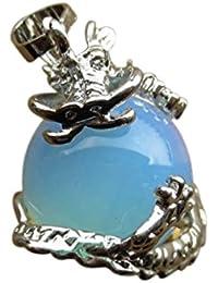 TOOGOO(R) 1 PCS Natural 15mm Cristal Piedra Preciosa Bola Colgante Envuelta Plata Aleacion Dragon para Mujeres Encantada Joyeria Collar - opalo