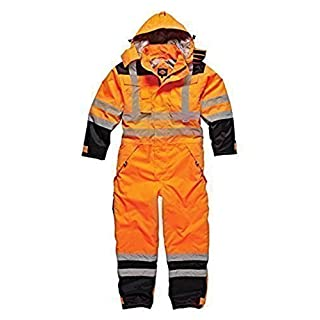 Dickies Recovery Coverall Overall Boiler Suit Auto Repair Garage Security Hi Vis Padded Heavy Duty Hard Wearing With Hood Quilted Lining Leg Zip Warm Multi Chest Pockets Tunnel Suit Storm Cuffs Orange SA7000 Large (44-46'' Chest)
