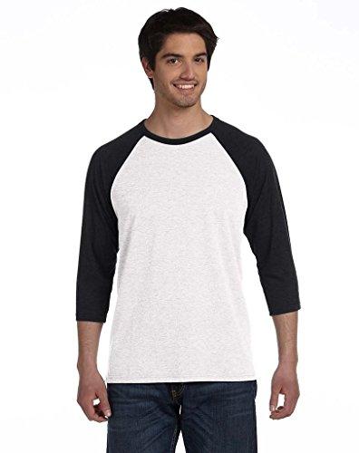 Delifhted Adult 3/4 Sleeve Blended Baseball Tee White/Black