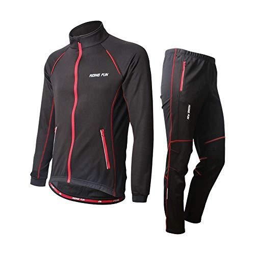 d.Stil Herren Radtrikot Set Fleece Atmungsaktiv Fahrrad Trikot Langarm + Radhose M - 2XL (Schwarz-Rot, L)