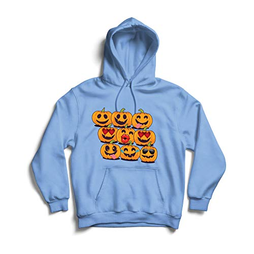 lepni.me Kapuzenpullover Kürbis Emoji Lustiges Halloween-Party-Kostüm (X-Large Blau Mehrfarben)