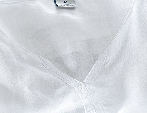 Icegrey Herren Kurzarm Leinen Hemd Mode Leinen T-Shirt Freizeit Hemden Sommer Hemd Weiß