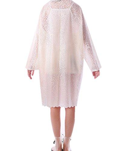 JDRAIN Raincoat Cape de Pluie Femme Portable Longue dentelle Manteau Imperméable Poncho à Capuche pour Voyage Camping Randonnée Vacances Blanc