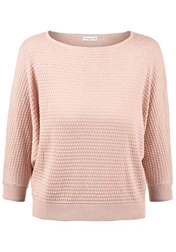 ONLY EULA Damen Strickpullover Feinstrick Pullover Mit Rundhals Und Perlstrick-Muster Aus 100% Baumwolle, Größe:L, Farbe:Rose Smoke