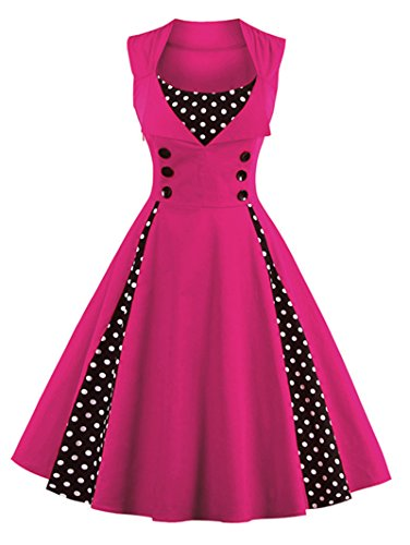 VERNASSA 50s Retro Kleider, Damen Vintage 1950er A-Line Baumwoll Swing Kleid für Rockabilly Evening...