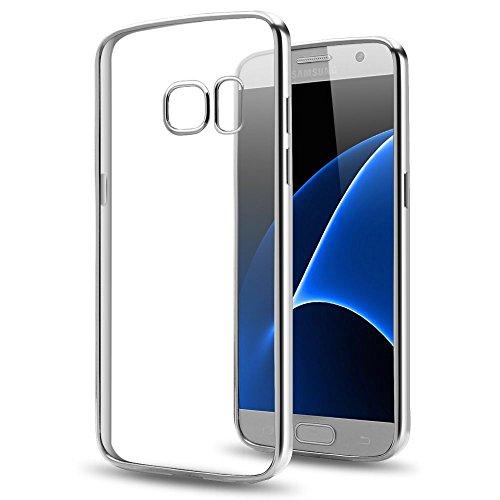 Zaprado Apple iPhone 7 Hülle transparent Schutzhülle Rand mit Metallic-Look Case Bumper ultra leicht und dünn aus TPU schützt alle Ecken und Kanten, COLOR: Rosegold silver