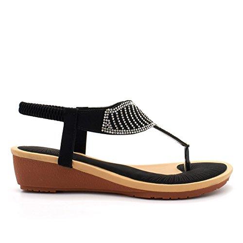 London Footwear - Chaussures Noires À Bride De Cheville Pour Femme