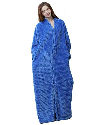 iCREAT Damen-Bademantel mit Reißverschluss vorne, Flanell-Fleece, weich, lang, warm - Blau - Medium - Fleece-bademäntel Vorne Reißverschluss Damen