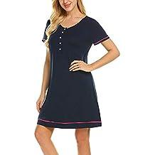 Vestido Lactancia de Mujer Embarazo Camisón,ZARLLE Ropa Premamá de Lactancia Algodón Pijama para Mujer