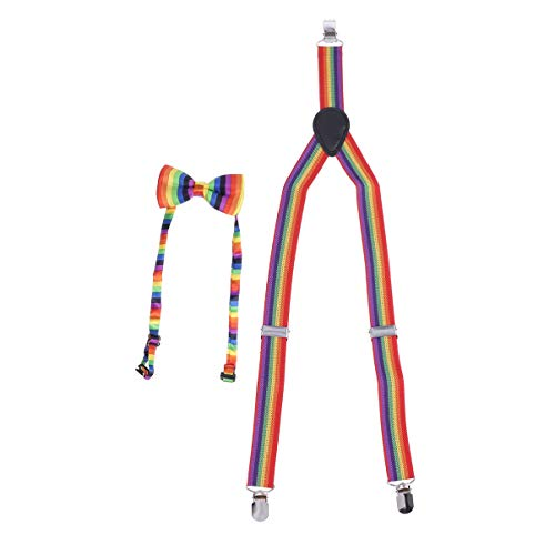 Kostüm Homosexuell - Toyvian Regenbogen Homosexuell Stolz Kostüm Set, verstellbare x zurück elastische Hosenträger und Regenbogen Farbe Fliege, Halloween Unisex Regenbogen Party Zubehör (65x2,5 cm)