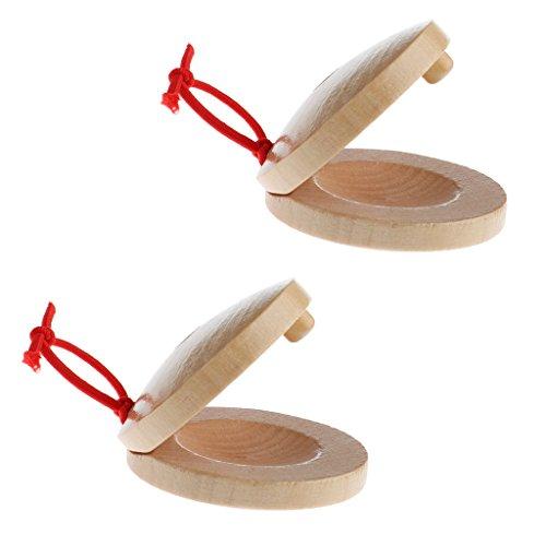 Sharplace Holz Kastagnetten Schlagzeug Flamenco Musikinstrument für Kinder