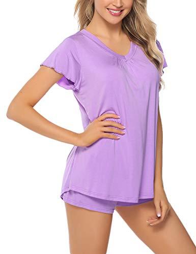Lila Baumwoll-pyjamas (Aibrou Pyjama Damen Kurz Shorty Baumwolle Schlafanzug Kurzarm Nachtwäsche Set Sleepwear V-Ausschnit mit Ruffle Sleeve Lila XL)