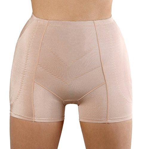 SODACODA Hüfthose - Schaumstoff gepolsterte hüftformende Hose - Erzeugt runde, kurvige Hüften und einen schlanken Bauch - Hip Pants Beige (Herstellergröße M) XS/S
