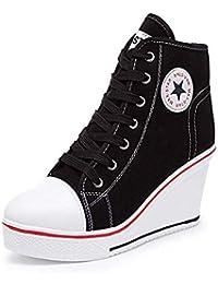 198d075829fb XPJY Baskets Mode Compensées Montante Sneakers Tennis Chaussures de Sport  Chaussures en Toile Femme