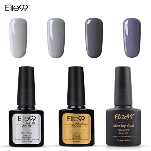 Elite99 Esmalte Semipermanente UV LED 7pcs Kit Uñas de Gel Pintauñas con Base Top Coat, Top Coat Mate...