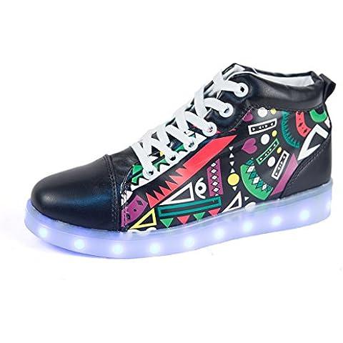DoGeek Zapatos Led Blancas Negras 7 Color USB Carga Luminosos Zappatillas Led Deportivos Para Hombres