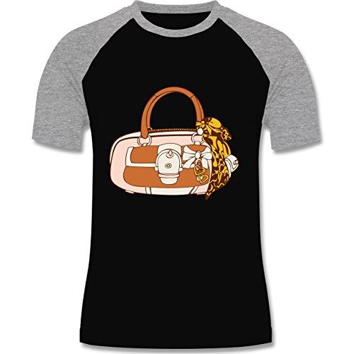 Symbole - Handtasche - zweifarbiges Baseballshirt für Männer Schwarz/Grau Meliert
