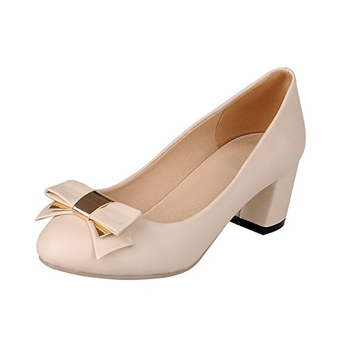 VogueZone009 Damen Weiches Material Ziehen Auf Rund Zehe Rein Pumps Schuhe Cremefarben