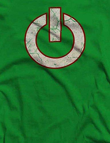 Power Button Vintage T-Shirt S-XXL 12 Colori / Colours Verde