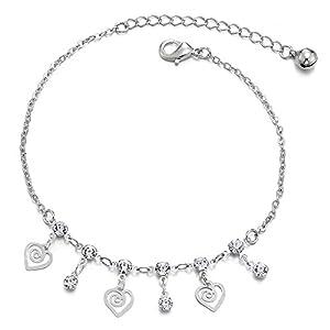 COOLSTEELANDBEYOND Damen Gliederkette Fußkette Fußkettchen mit Wirbel Herz Charms, Zirkonia und Klingglöckchen