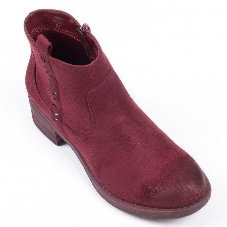 Ideal Shoes - Bottines effet daim avec partie ajourée Daila Rouge