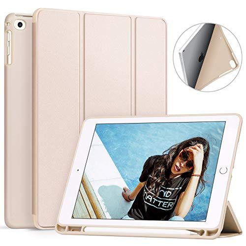 Ztotop Hülle für iPad 9.7 Zoll 2018,Ultradünne Soft TPU Rückseite Abdeckung Schutzhülle mit eingebautem Apple Pencil Halter, Automatischem Schlaf/Aufwach, für iPad 9.7 (6. Generation), Braun