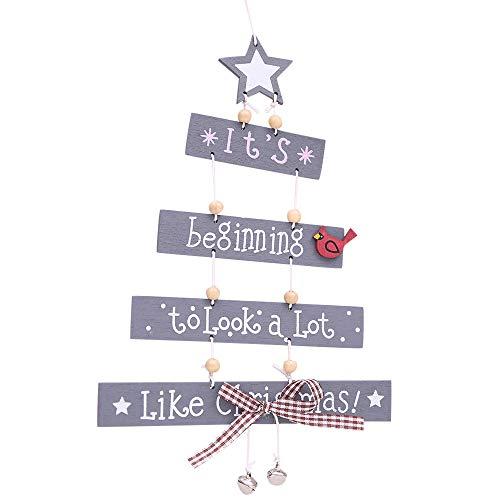 (Foroner Weihnachtsdekorationen, Merry Christmas Weihnachtsdekoration, Baum-Ornament Gemustert, hängendes Zubehör, grau, 17x25cm)