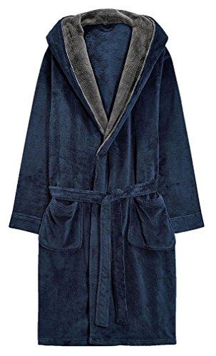 FLYCHEN Men s Luxury Soft Warm Hooded Bathrobe Housecoat With Belt Blue M -  Buy Online in UAE.  fbae448df