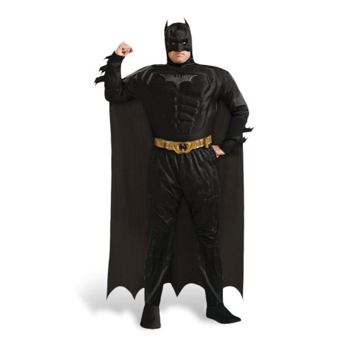 Knight Batman Kostüme Deluxe Dark (Batman The Dark Knight Rises Deluxe Kostüm Herren mit Muskeln Oberteil Hose Maske Umhang Gürtel Einheitsgröße)