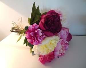 GRAND BOUQUET de PIVOINE en satin 45cm fleurs artificielles QUALITE LUXE