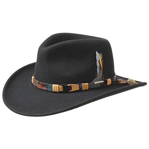 Stetson Chapeau Kingsley VitaFelt Plumes dŽIndien Faire du Cheval facon Western (L (58-59 cm) - Noir)