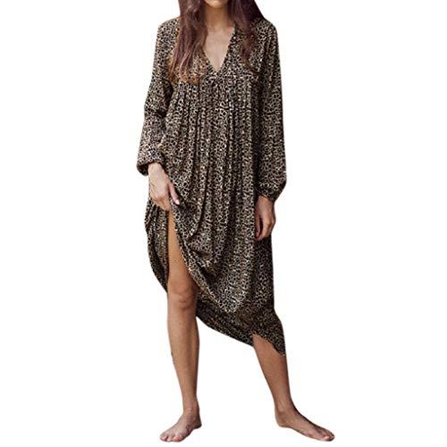 SHINEHUA Lose Blusenkleid Damen Tunika Kleid Langarm V-Ausschnitt A-Linie Mini Kleider Swing T-Shirt Kleid Blusen Tuniken Sommerkleid Leopard Muster Knielang Strandkleid große größen - Besonderes Ballkleid