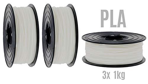 PLA Filament 3D Drucker 1,75mm / 3x 1kg Rolle Weiß Weiss für 3D Printer oder Stift 3er Set (3Kg) ...