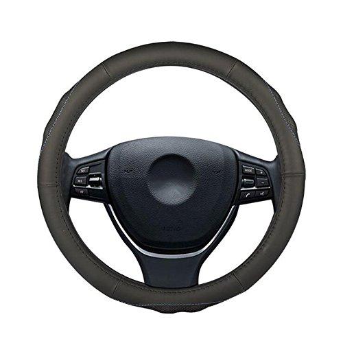 QLL 2018 Neue Auto Lenkrad Abdeckung Sport Massage Atmungsaktive Lederbezug, black, 37.5cm