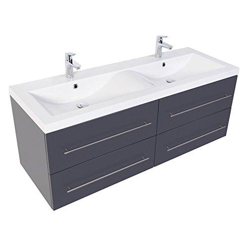 Bad Doppelwaschbecken (Doppel-Waschplatz 140 inkl. Doppel-Waschbecken in Wellenform in Hochgl. weiß oder Anthrazit seidenglanz (Anthrazit Seidenglanz))